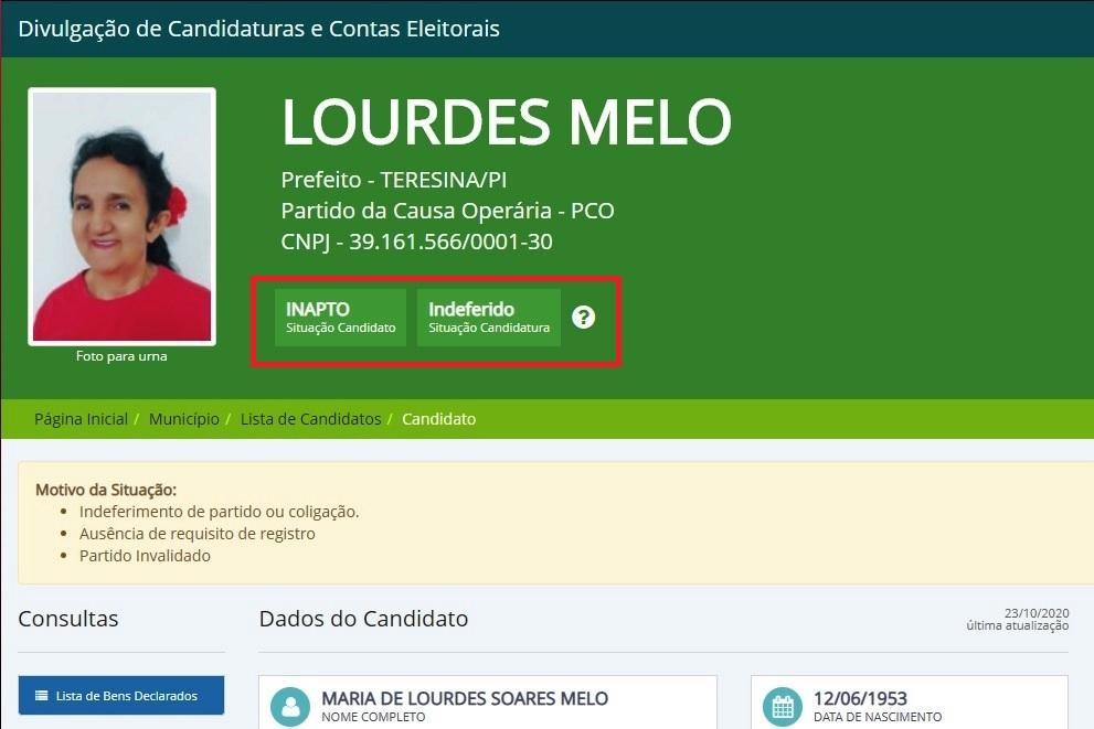 Candidatura de Lourdes Melo para a prefeitura de Teresina é indeferida pelo TRE
